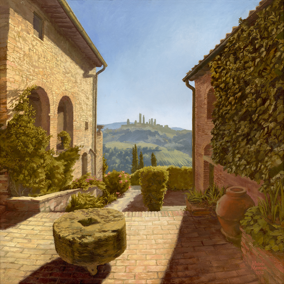 Let Us Contemplate Montagnanas Courtyard View of San Gimignano (large view)