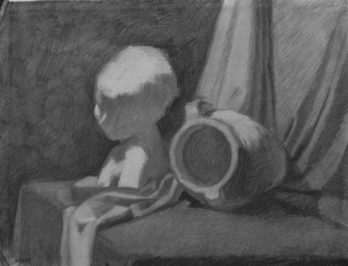 Charcoal on Canson paper.  Theme is an arrangement of antique objects, like the Cast from Antiquity of the girl's bust and the Greek Amphora Vase turned on its side. (large view)