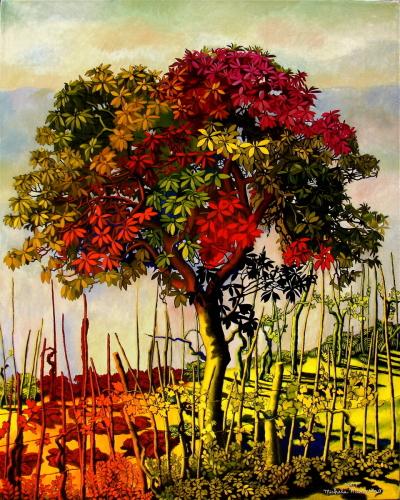 The Medlar Tree, hand painted copy by Michela Mansuino
