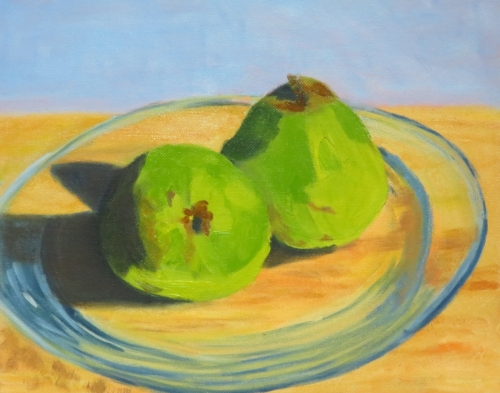 Pears on Glass Plate