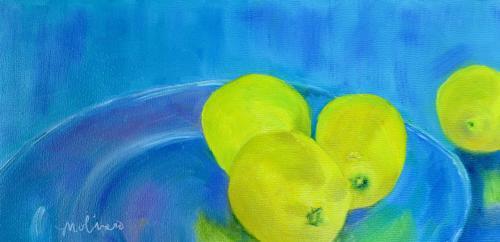 Glass Plate with Lemons