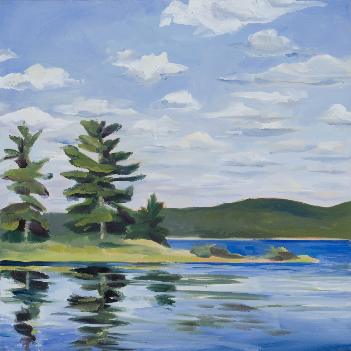 12x12 oil on canvas painting of lake with white pines next to lake. (large view)