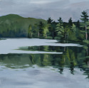 12x12 oil on canvas painting of tree reflections on water interrupted by breeze on water (thumbnail)