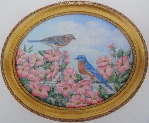 BLUEBIRDS,FENCE & WILDROSES
