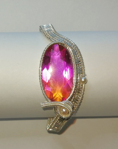 Cuff with lab created Ametrine