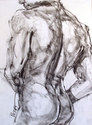 MALE,NUDE,FIGURE DRAWING,CHARCOAL DRAWING,LIFE MODEL DRAWING,BACKVIEW,MUSCLES, - Nude Drawing