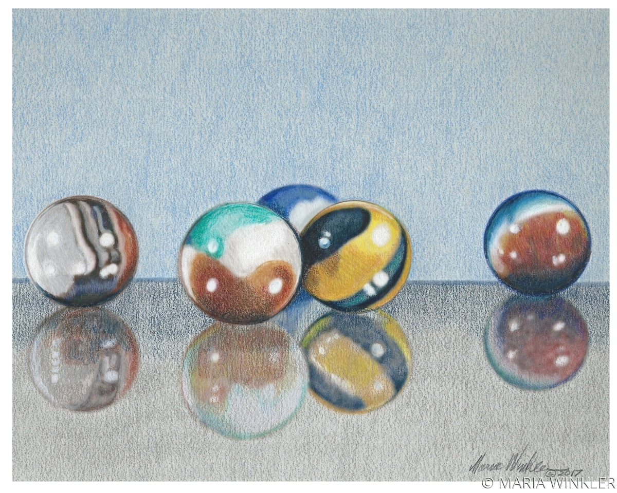 Marble Colored Pencil Drawings Of Clusters : Drawing quot colored marbles original art by maria winkler