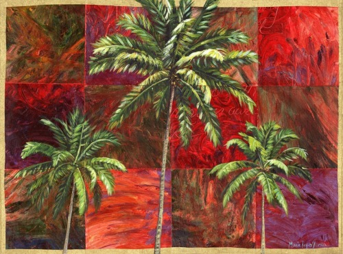 South Beach Palms on Red Squares