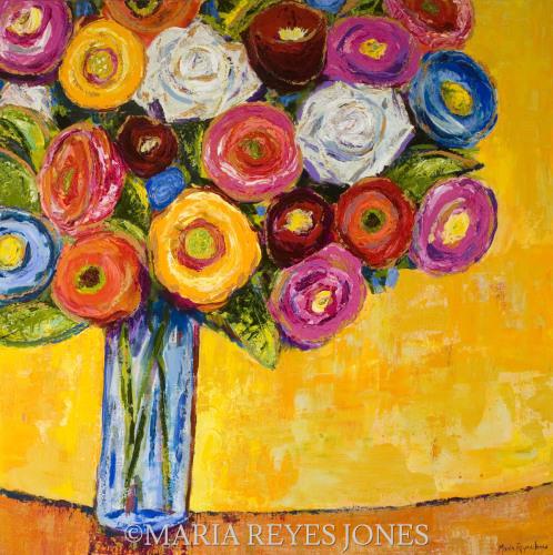 Flowers in Blue Glass by MariaReyesJones.com