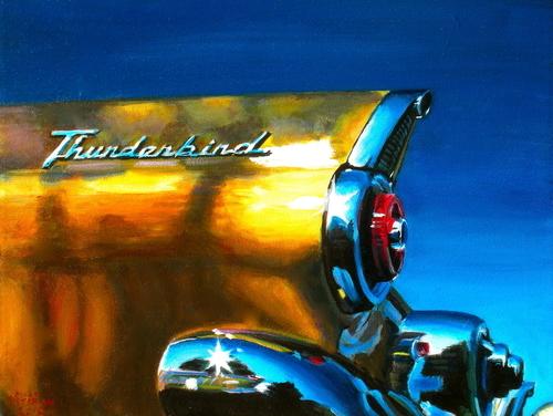 Yellow 1955 Thunderbird (large view)