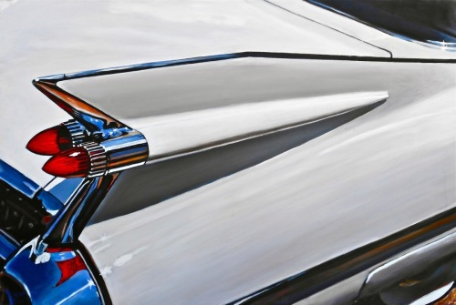 White '59 Cadillac Tailfin by Paintings by Mark Peterson