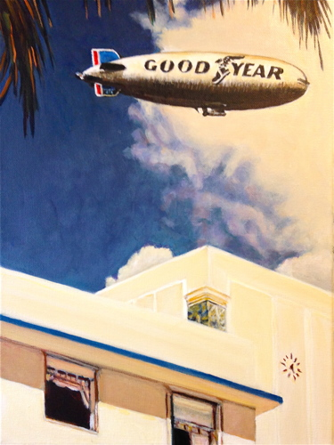 Blimp Over Fort Lauderdale by Paintings by Mark Peterson