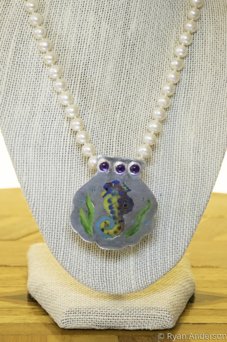 Champleve Seahorse pendant pearl/chain enhancer (large view)