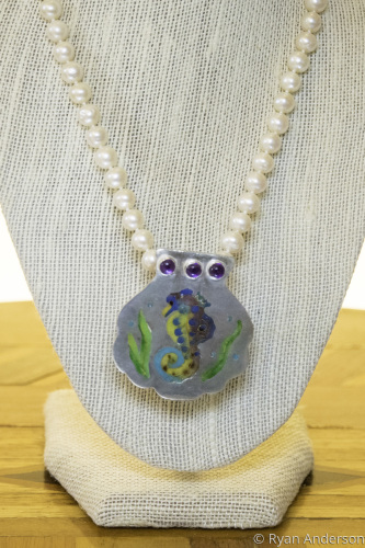 Champleve Seahorse pendant pearl/chain enhancer