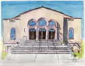 Temple Israel in Pen and Ink and Watercolor (thumbnail)