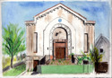 Temple Beth El in Pen and Ink and Watercolor (thumbnail)