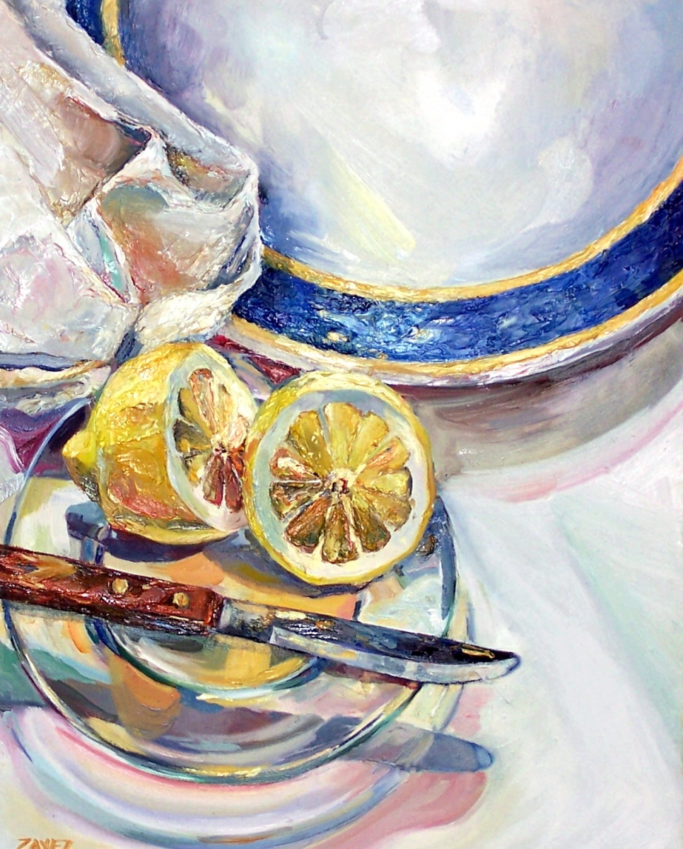 Still life painting with a cut lemon on clear plate with knife.  Large white plate with blue stripe in background.   (large view)