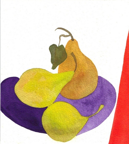 Pears on Purple Plate (large view)