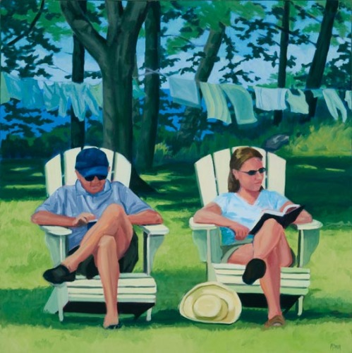 Maine island vacationers reading while laundry dries on the line by Maine painter Martha Baum.  (large view)