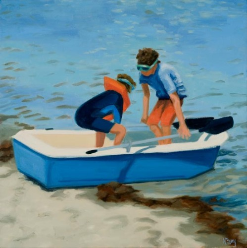Original oil painting of children launch their dinghy from a sandy shore by Maine painter Martha Baum.  (large view)