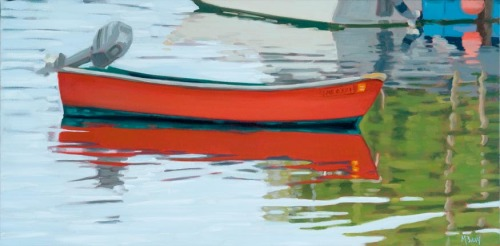 Original oil painting of small working skiff with reflection in Vinalhaven Harbor. by Maine painter Martha Baum.  (large view)