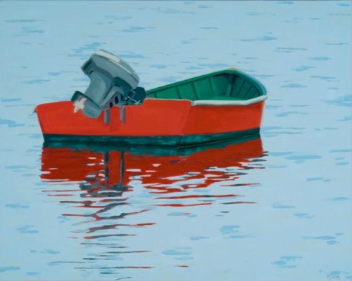 Original oil painting of Red skiff with reflection floating in Vinalhaven Harbor by Maine painter Martha Baum.  (large view)