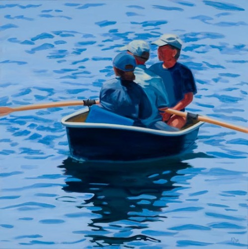 A scene from coastal Maine: Folks rowing to shore in a dinghy.  (large view)