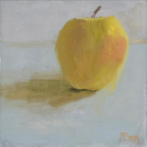 A scene from coastal Maine: A single Golden Delicious apple. (large view)
