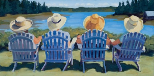 A scene from coastal Maine: Four women in adirondack chairs, enjoying an ocean view.  (large view)