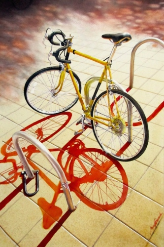 YELLOW BICYCLE by MARY EDWARDS WATERCOLORS