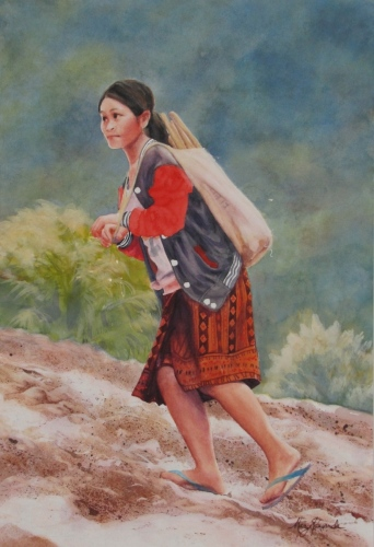LAOTIAN GIRL, from C Hamill photo by MARY EDWARDS WATERCOLORS