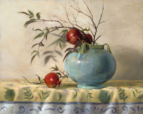 """Pomegranates and Pottery"" by Mary Kay West Fine Art"