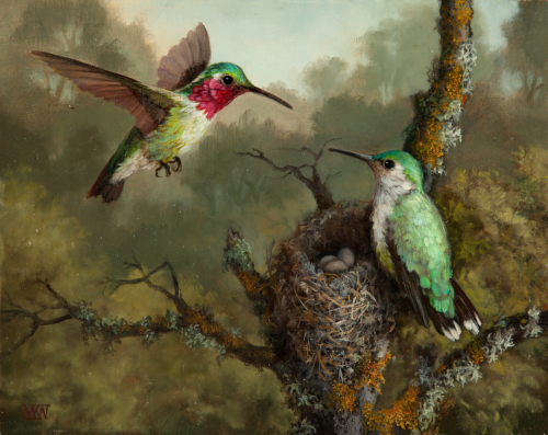 """Hummingbirds with Nest"" by Mary Kay West Fine Art"