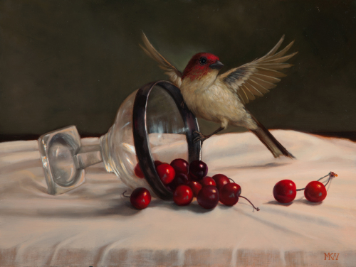 Cassin Finch with Cherries
