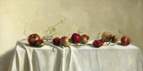 """Pomegranates on White Linen"" by Mary Kay West Fine Art"