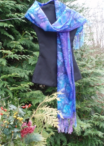 Fringed Scarf in Deep Blue, Turquoise and Violet