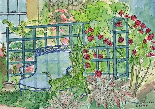 Garden Bench & Trellis