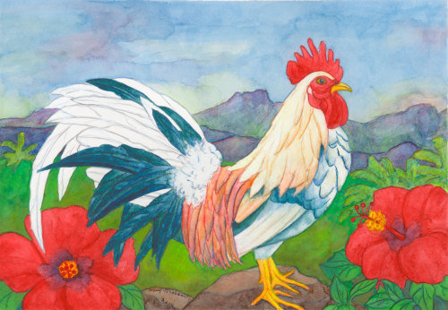 Multi Colored Rooster by Mary Muskus Graham
