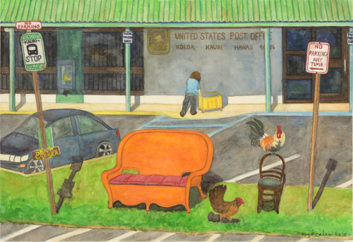Bus Stop at the Koloa Post Office by Mary Muskus Graham