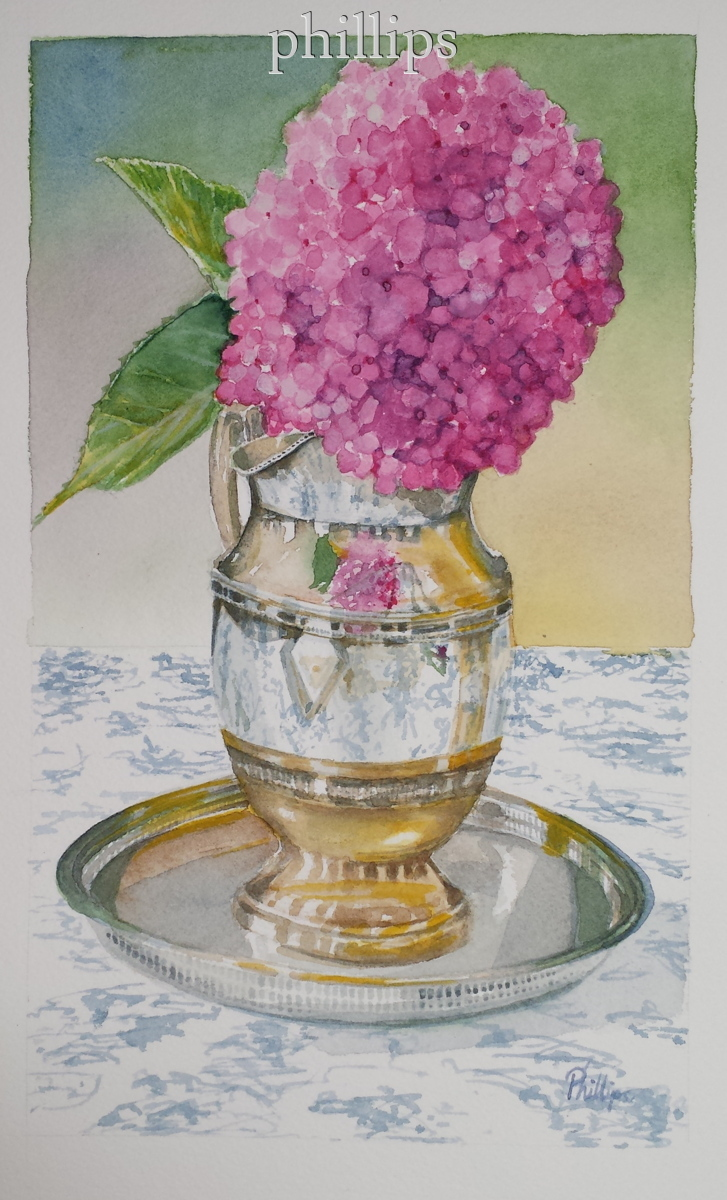 Hydrangea in Silver Pitcher (large view)