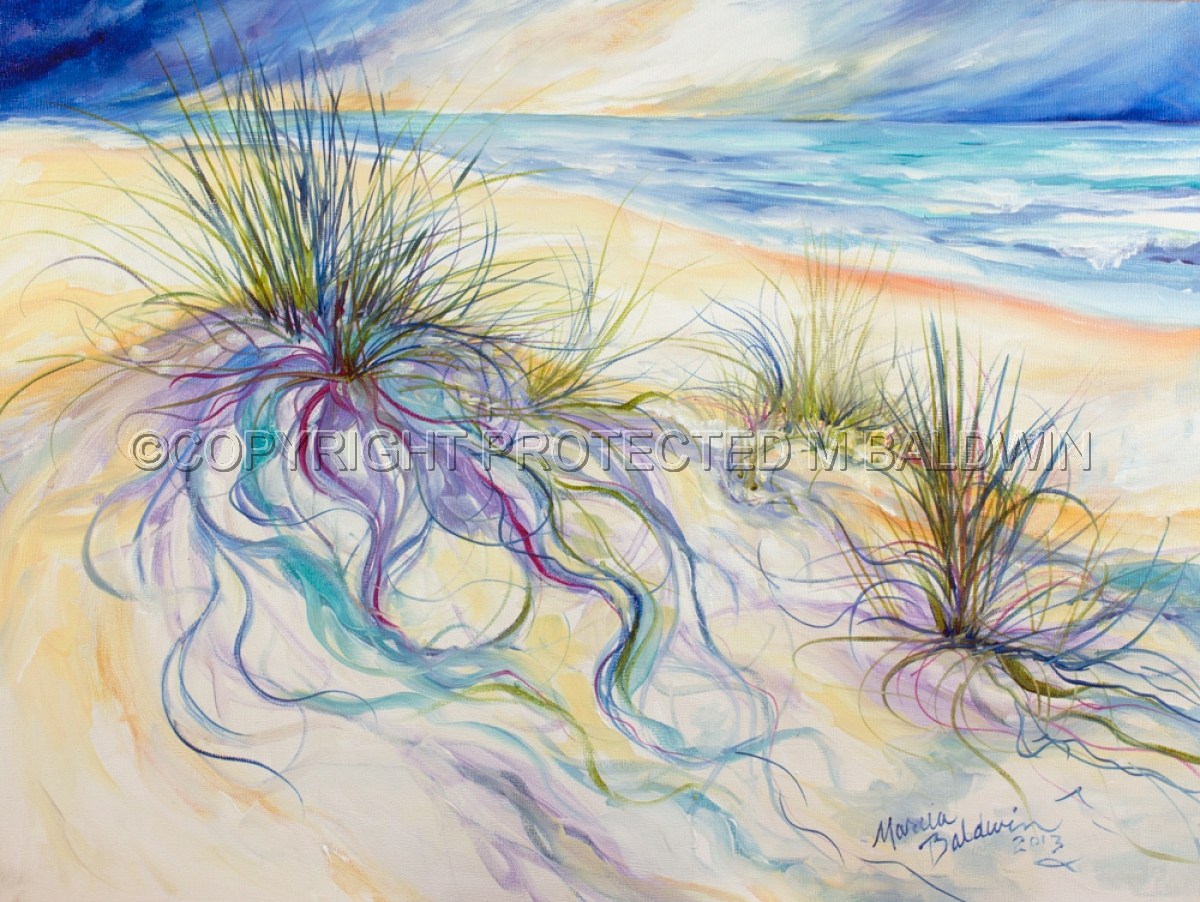 Painting seagrass abstract original art by marcia for Seagrass landscaping