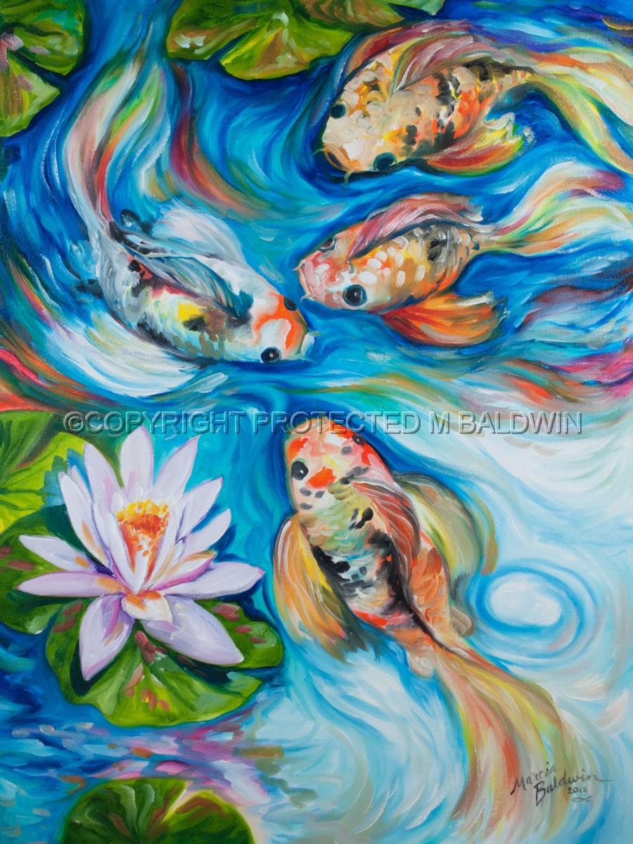 Painting dancing koi 1824 original art by marcia baldwin for Easy fish painting
