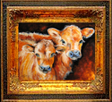 Painting--Oil-AnimalsLITTLE BROWN COWS by M BALDWIN