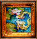 WATERLILY & KOI 2 by M BALDWIN (thumbnail)