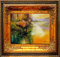 Painting--Oil-AnimalsMOOSE at WATERS EDGE by M BALDWIN