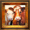 BABY FACE & MOM ~ COW ART by M BALDWIN (thumbnail)