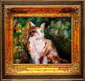 CALICO KITTY & FLOWERS by M BALDWIN (thumbnail)