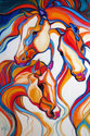 3 Horse Abstract SW by M Baldwin (thumbnail)