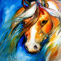 COMANCHE ~ AN EQUINE ORIGINAL OIL by M B (thumbnail)