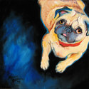 PUG LOVE ~ ORIGINAL OIL 12 X 12 (thumbnail)